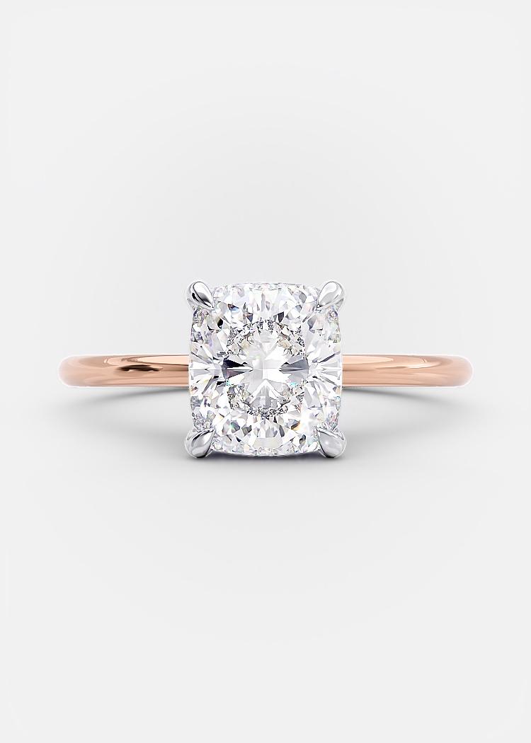 10K Rose Gold Cushion 9x9mm Natural Diamonds Semi Mount Engagement Ring Jewelry