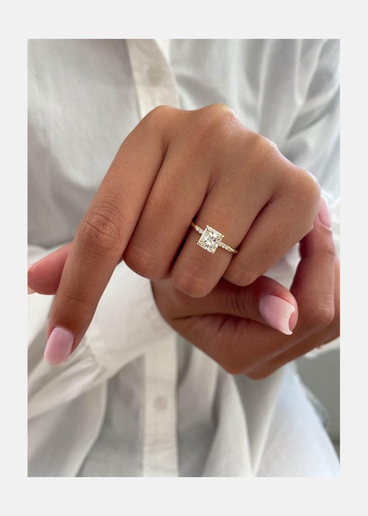rose gold princess cut ring